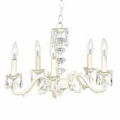 5-Arm Glass Turret Ivory Chandelier
