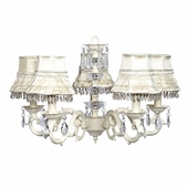 5-Arm Glass Turret Ivory Chandelier with Ivory Skirt Dangle Shades