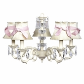 5-Arm Glass Turret Ivory Chandelier with Ivory with Pink Sash Shades