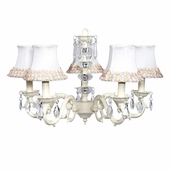5-Arm Glass Turret Ivory Chandelier with Pink/Green Flower Border Shades