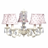 5-Arm Glass Turret Ivory Chandelier with Pink Pearl Dot Shades
