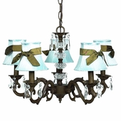 5-Arm Glass Turret Mocha Chandelier with Blue with Brown Sash Shades