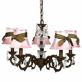 5-Arm Glass Turret Mocha Chandelier with Pink with Brown Sash Shades