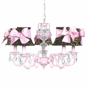 5-Arm Glass Turret Pink Chandelier with Leopard with Pink Sash Bow Shades