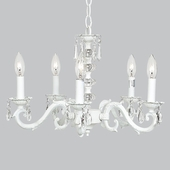 5-Arm Glass Turret White Chandelier