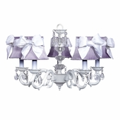 5-Arm Glass Turret White Chandelier with Lavender and White Sash Bow Shades