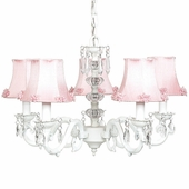 5-Arm Glass Turret White Chandelier with Pink Pearl Burst Shades