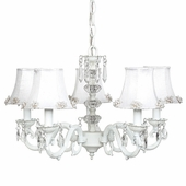 5-Arm Glass Turret White Chandelier with White Pearl Burst Shades