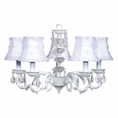 5-Arm Glass Turret White Chandelier with White Petal Flower Shades