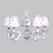 5-Arm Glass Turret White Chandelier with White/Pink Petal Flower Shades