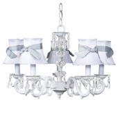 5-Arm Glass Turret White Chandelier with White with Blue Sash Shades