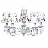 5-Arm Glass Turret White Chandelier with White with Pink Net Flower Shades