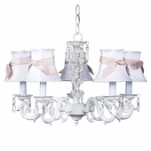 5-Arm Glass Turret White Chandelier with White with Pink Sash Shades