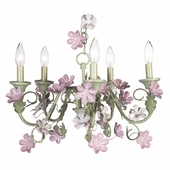 5-Arm Leaf and Flower Pink & Green Chandelier