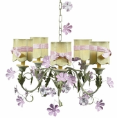 5-Arm Leaf & Flower Pink & Green Chandelier with Green with Pink Sash Shades Scallop Drum Shades