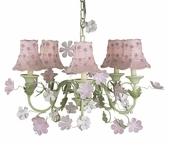 5-Arm Leaf & Flower Pink & Green Chandelier with Pink Daisy Pearl Shades