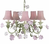 5-Arm Leaf & Flower Pink & Green Chandelier with Pink Glass Bead Shades