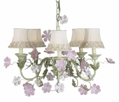 5-Arm Leaf & Flower Pink & Green Chandelier with Pink/Green Flower Border Shades