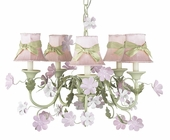 5-Arm Leaf & Flower Pink & Green Chandelier with Pink with Sage Green Sash Shades