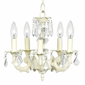 5-Arm Stacked Glass Ball Ivory Chandelier