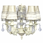 5-Arm Stacked Glass Ball Ivory Chandelier with Ivory Skirt Dangle Shades