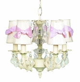 5-Arm Stacked Glass Ball Ivory Chandelier with Ivory with Pink Sash Shades