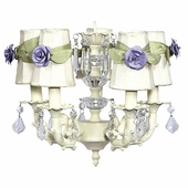 5-Arm Stacked Glass Ball Ivory Chandelier with Ivory with Sage Green Sash Shades and Small Lavender Rose Magnets