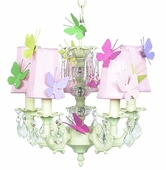 5-Arm Stacked Glass Ball Ivory Chandelier with Pink Shades and Butterfly Magnets