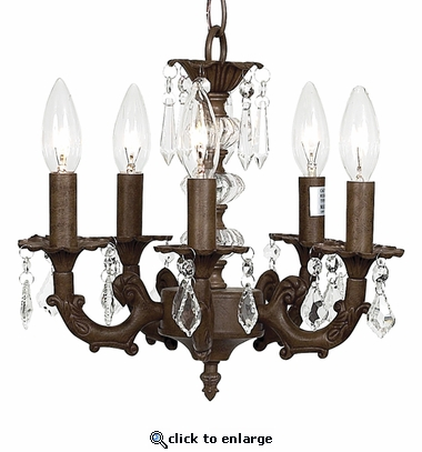 5-Arm Stacked Glass Ball Mocha Chandelier
