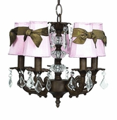 5-Arm Stacked Glass Ball Mocha Chandelier with Pink with Brown Sash Shades