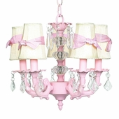 5-Arm Stacked Glass Ball Pink Chandelier with Ivory with Pink Sash Shades