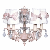 5-Arm Stacked Glass Ball Pink Chandelier with White with Pink Sash Shades
