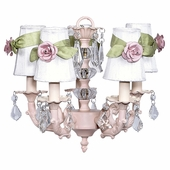 5-Arm Stacked Glass Ball Pink Chandelier with White with Sage Green Sash Shades and Small Light Pink Rose Magnets