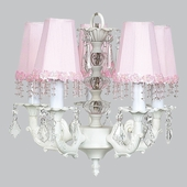 5-Arm Stacked Glass Ball White Chandelier with Pink Pearl Flower Shades
