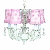 5-Arm Stacked Glass Ball White Chandelier with Pink Petal Flower Shades