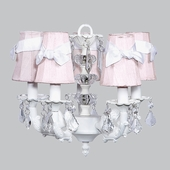 5-Arm Stacked Glass Ball White Chandelier with Pink with White Sash Shades