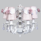 5-Arm Stacked Glass Ball White Chandelier with Pink with White Sash Shades and Light Pink Rose Magnets