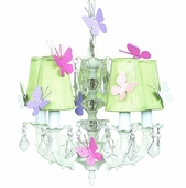 5-Arm Stacked Glass Ball White Chandelier with Sage Green Shades and Butterfly Magnets