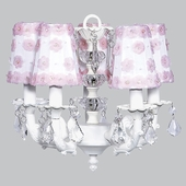 5-Arm Stacked Glass Ball White Chandelier with White/Pink Petal Flower Shades