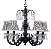 5-Arm Water Fall Black Chandelier with Black Check with Pink Rosebud Shades