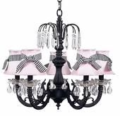 5-Arm Water Fall Black Chandelier with Pink with Black Check Sash Shades