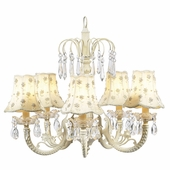 5-Arm Water Fall Ivory Chandelier with Ivory Daisy Pearl Shades