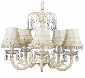 5-Arm Water Fall Ivory Chandelier with Ivory Skirt Dangle Shades