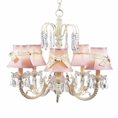 5-Arm Water Fall Ivory Chandelier with Pink with Ivory Sash Shades