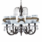 5-Arm Water Fall Mocha Chandelier with Blue with Brown Sash Shades