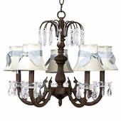 5-Arm Water Fall Mocha Chandelier with Ivory with Blue Sash Shades