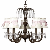 5-Arm Water Fall Mocha Chandelier with Ivory with Pink Sash Shades