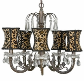 5-Arm Water Fall Mocha Chandelier with Leopard Hourglass Shades