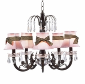 5-Arm Water Fall Mocha Chandelier with Pink with Brown Sash Shades