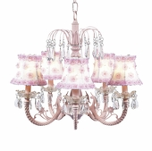 5-Arm Water Fall Pink Chandelier with White/Pink Petal Flower Shades